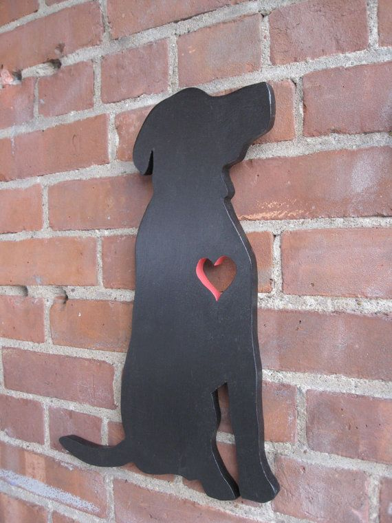 Labrador retriever wood cutout with a heart. by GreyOwlDesign