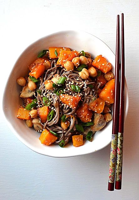 Goddess Bowl ~ Nurturing Butternut Squash, Mushrooms, Soba, Soy and Scallions. Macrobiotic. Deliciously Detoxifying!