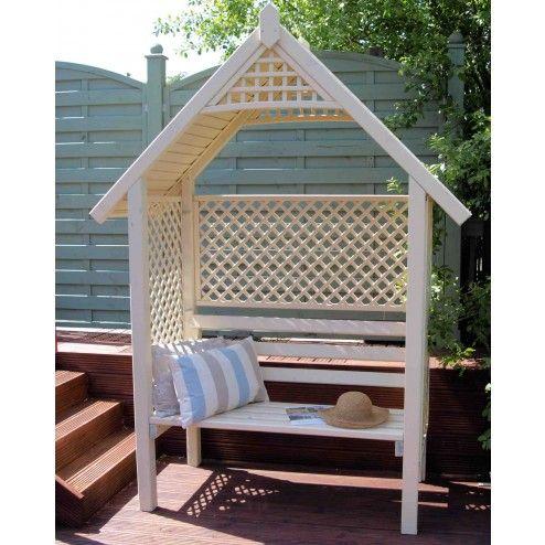 Stunning Vanilla Cream Painted Darwell Wooden Garden Arbour Bench Seat with Delicate Trellis Work