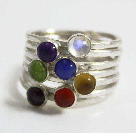 Chakra stapelen ringen zilveren stapelen ring yoga sieraden
