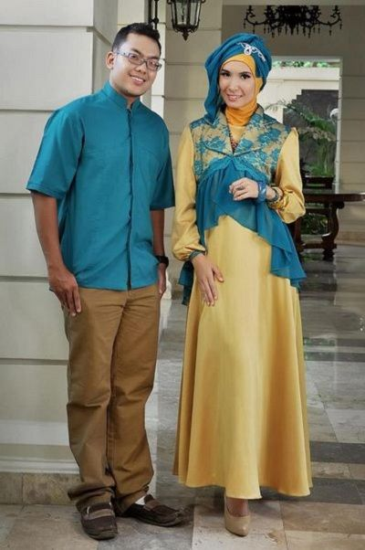 busana muslim pesta couple