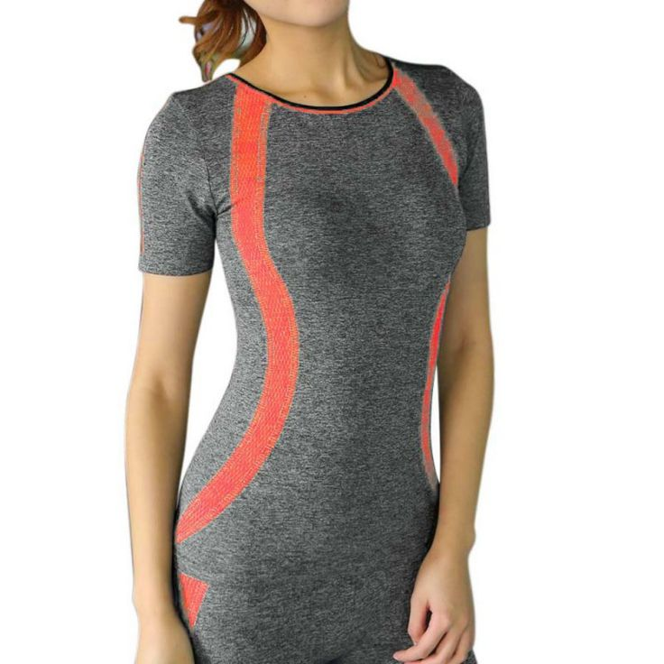 New Style Yoga Gym Compression Tights Women's Sport T-shirts Dry Quick Running Short Sleeve Fitness Ladies Clothes Tees tops
