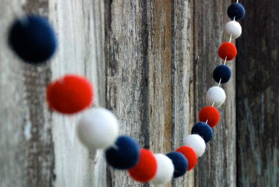 make using red/white/blue sparkle pom poms