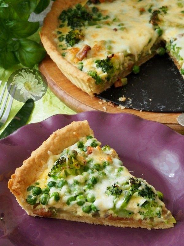 Tarta na zielono z kurkami