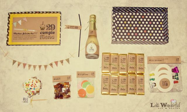 Nachmachen! Geburtstag zum Mitnehmen. Man braucht nur: einen Schuhkarton, eine kleine Flasche Sekt und ein paar Tafeln Schokolade, vielleicht noch einen Cupcake...