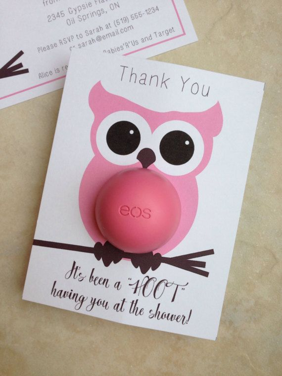 Owl themed baby shower EOS lip balm party favor by CreaseStudio