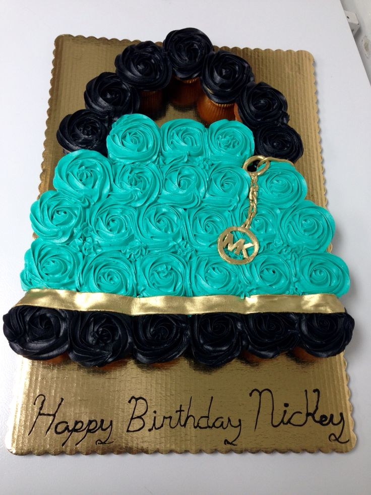 Michael Kors purse cupcake cake! Very sharp edible handbag!
