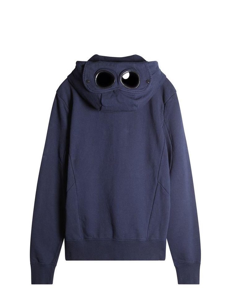 C.P. Company Hooded Zip Through Goggle Fleece in Blue