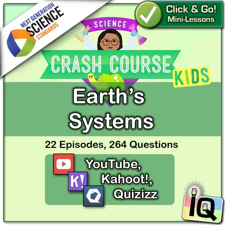 Just Point and Click for instant Mini-Lessons with Game-Based Assessment! ... The Crash Course videos and Interactive Quizzes in this series are aligned with the following Grade 5 Performance Expectations and Disciplinary Core Ideas of the Next Generation Science Standards: 5-ESS2-1,2 Earth�s Systems ... https://www.teacherspayteachers.com/Product/Crash-Course-Kids-Earths-Systems-IQ-NGSS-2898290