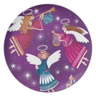 Modern religious Chritmas, three angels Party Plate