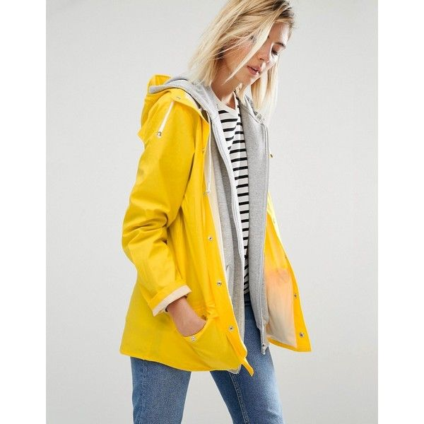 Rains Waterproof Jacket (2,310 MXN) ❤ liked on Polyvore featuring outerwear, jackets, yellow, lightweight waterproof jacket, pocket jacket, snap jacket, waterproof jacket and yellow jacket