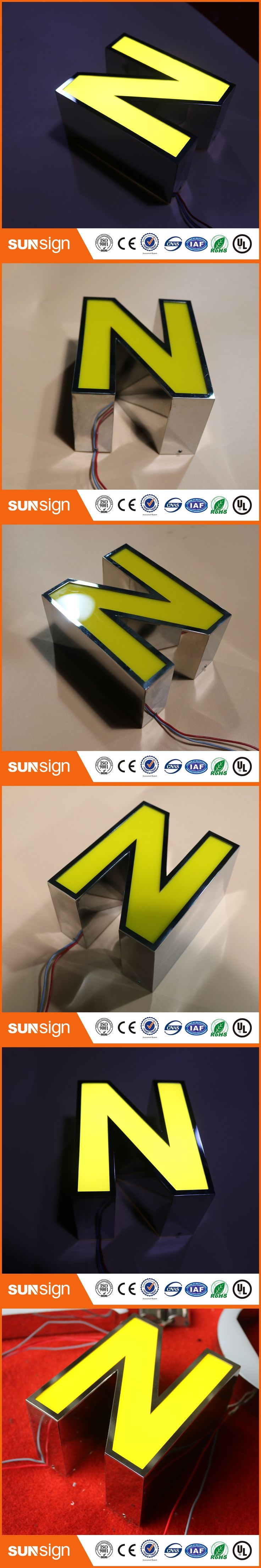 led sign mirror stainless steel logo Outdoor Led Sign 3D LED letters Acrylic letters
