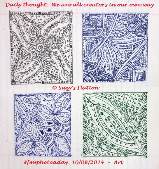 We are all creators in our own way  #FMSphotoaday #Art - my Zentangles. I find them so therapeutic and as I do them free flow, I never know what they'll eventually look like which is half the fun!   https://www.facebook.com/ilasuzy