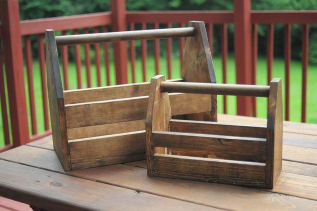 DIY Wooden Tool Box (Full + Mini) - Perfect for picnics, craft supplies, etc! - KaelahBee.com