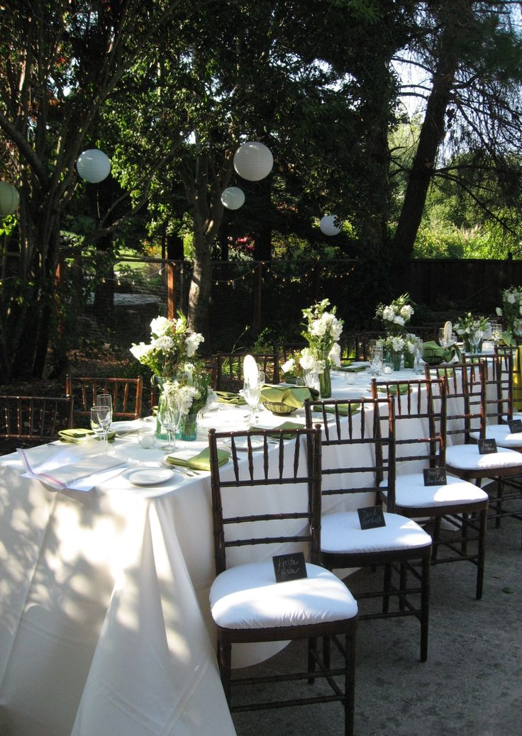 best friend's wedding. super low key, california summer night backyard dinner.