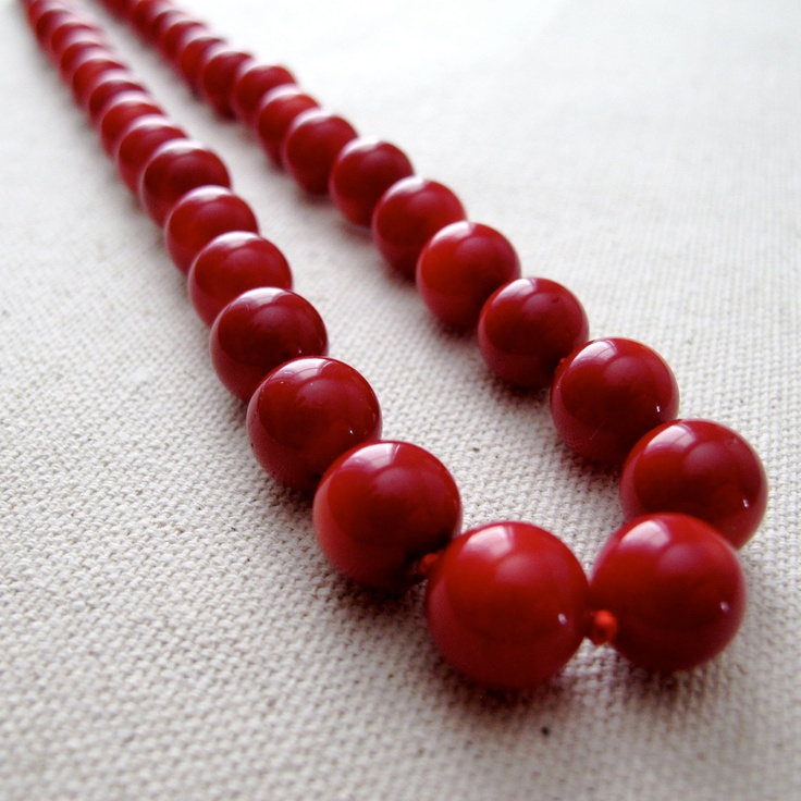 READY TO SHIP- Knotted Red Bamboo Coral Necklace, Classic Round Beaded Necklace. $45.00, via Etsy.
