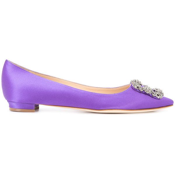 Manolo Blahnik Hangisi Ballerinas ($955) ❤ liked on Polyvore featuring shoes, flats, purple ballet flats, leather ballet shoes, purple shoes, slip on shoes and leather flats
