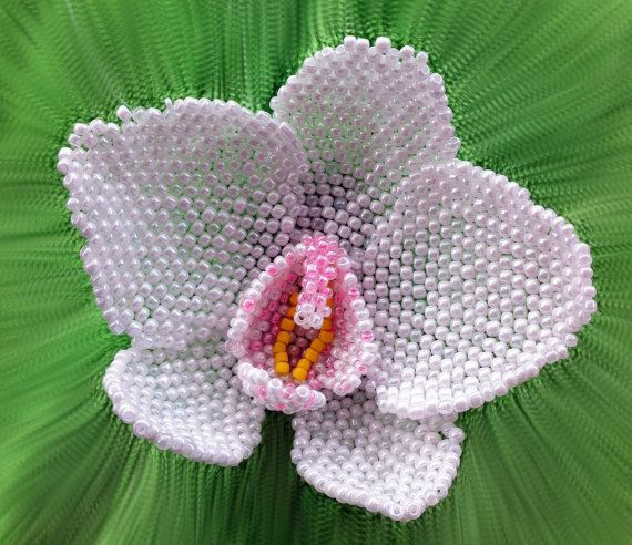 Pattern and tutorial for beaded orchid - how to bead an orchid - artisan orchid photo tutorial
