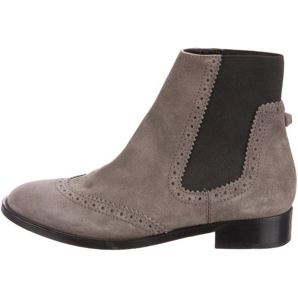 Pre-owned Balenciaga Brogue Chelsea Ankle Boots (14.100 RUB) ❤ liked on Polyvore featuring shoes, boots, ankle booties, grey, gray ankle boots, grey booties, grey ankle boots, grey suede booties and suede chelsea boots