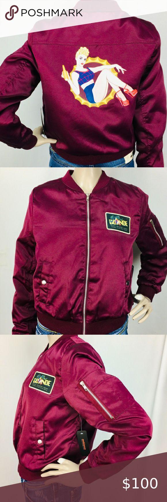 Burgundy Retro Pinup Bomber Jacket Bottled Blonde In 2021 Outerwear Women Clothes Design Bomber Jacket [ 1740 x 580 Pixel ]