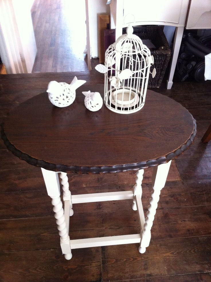 Shabby Chic Country Solid Oak Barley Twist Side Table