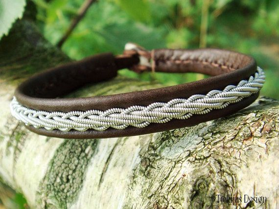 THOR Brown Leather Viking Bracelet Custom Handmade Swedish Sami Pewter Braid Reindeer Antler Bracelet - Natural Nordic Elegance.