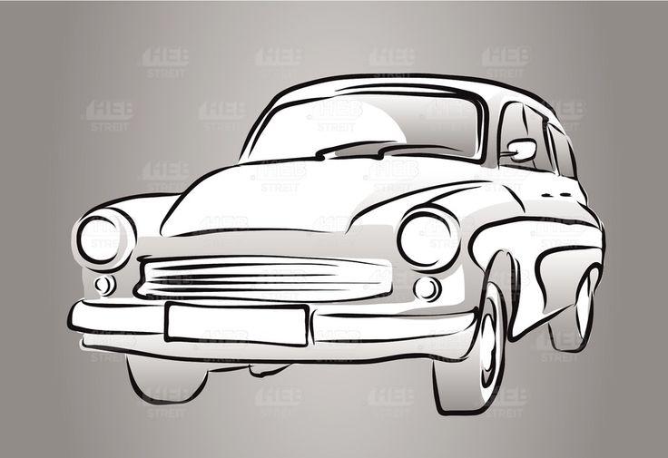 Old East German Car, Grey Shaded Sketch, Vector Hand Drawn Artwork, Wartburg