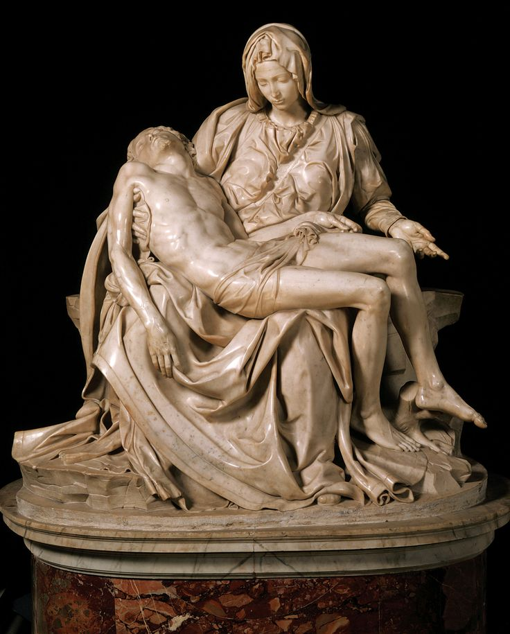 Michaelangelo's Pieta.  Carved from a solid piece of carrera marble, the only sculpture he ever signed.