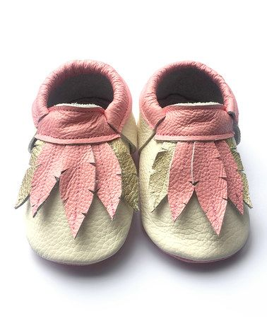 Look what I found on #zulily! Cream & Pink Feather Leather Booties #zulilyfinds