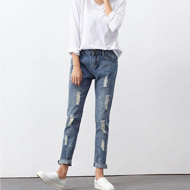 Fashion Spring Summer Ripped Holes Pants Jeans Women Slim Vintage Long Jeans Casual Loose Cotton Denim Trousers Female Mad Show *** AliExpress Affiliate's Pin. Clicking on the VISIT button will lead you to find similar product