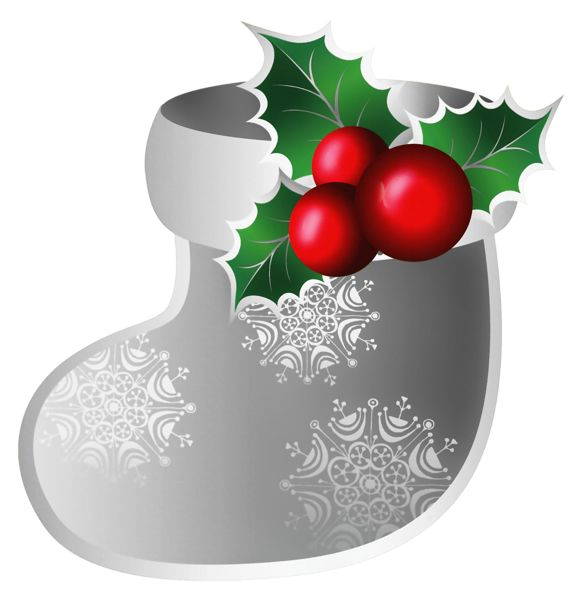 CHRISTMAS SILVER BOOT WITH HOLLY AND BERRIES CLIP ART