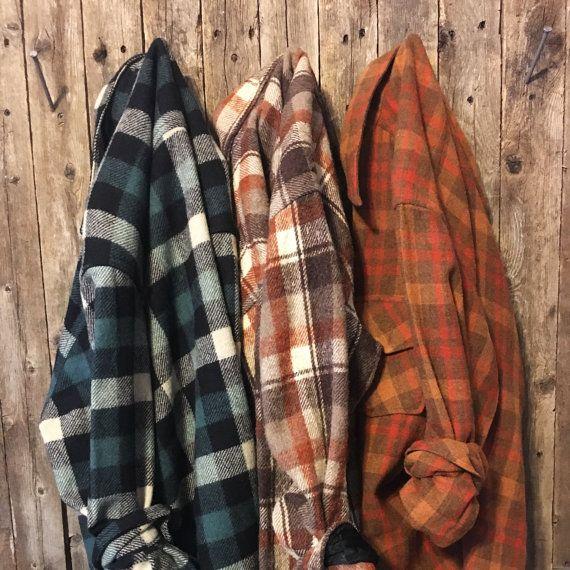 Vintage Flannel, Distressed Flannel, Grunge Flannel, 3-Pack Flannel Shirts