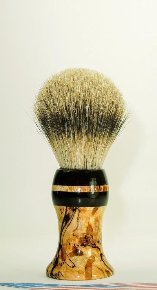 Spalted Maple / Buffalo Horn - Silver Tip Badger Hair Shaving Brush #Unbranded