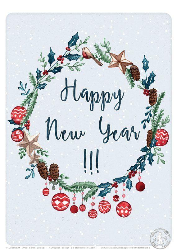 Carte de voeux, Happy new year, Meilleurs voeux, illustration