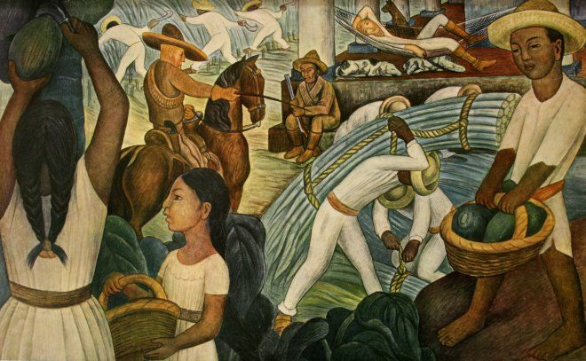 An important aspect of Esperanza Rising are the class struggles after the Revolution.  This painting is titled Sugarcane, and was created by the Mexican painter Diego Rivera in 1931.  It depicts the struggles and oppression on a typical Mexican plantation around the same time as the events in Esperanza Rising.