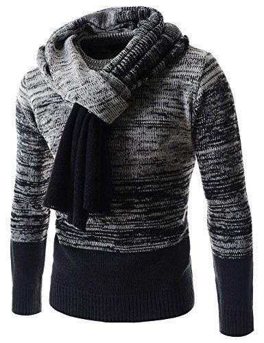 (SG27) Mens Gradation Knitted Muffler Included Round Neck Long Sleeve Sweater WHITEBLACK Large(US Medium) TheLees http://www.amazon.com/dp/B00N4S21VG/ref=cm_sw_r_pi_dp_nh4vub0BN5GV0
