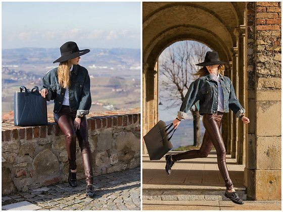Get this look: http://lb.nu/look/8562291  More looks by Anastasiia Masiutkina: http://lb.nu/anastasiiamas  Items in this look:  By Gasanova Denim Jacket, Elena Burenina Leather Trousers, Agent Provocateur Hat, Alesya Orlóva Bag, Church'S Shoes   #street #themostattractive #eatdresstravel #anastasiiamasiutkina #streetstyle #fashionblogger #fashionista #natashaischenko #alesyaorlova