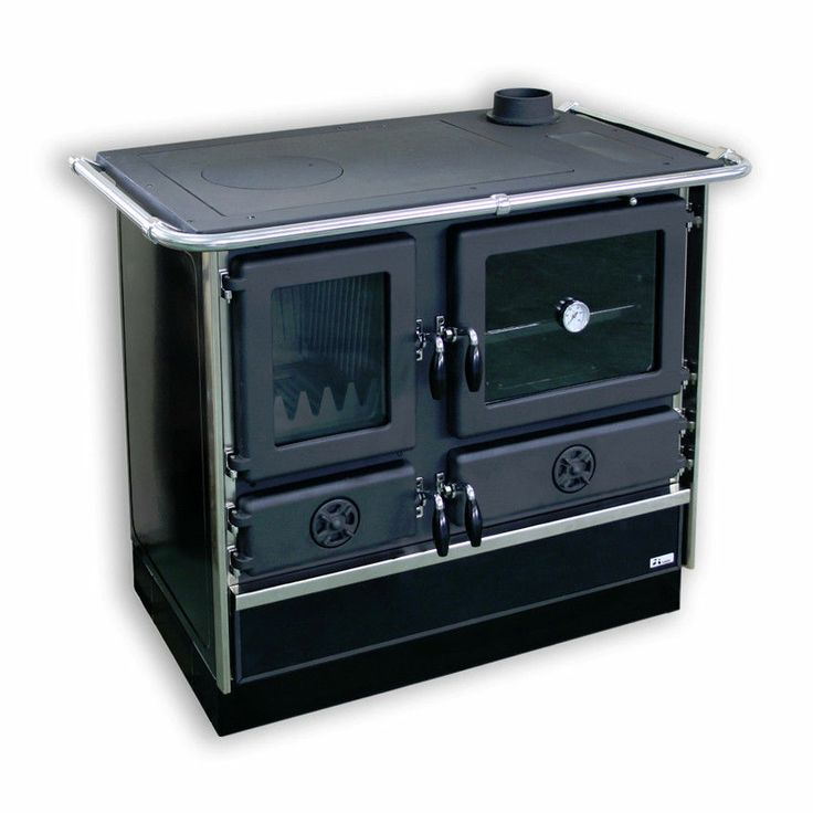 Wood Coal Burning Cook Stove Magnum Black With Silver Trim