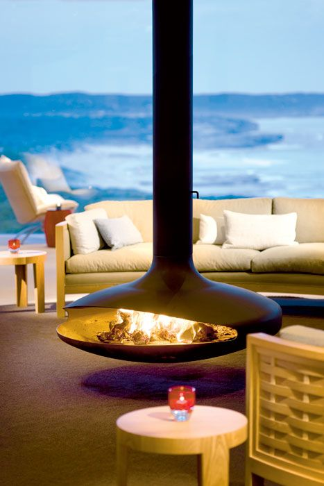 Hanging fireplace at Southern Ocean Lodge, OZ. Outdoor dangler.