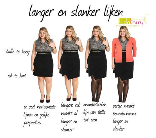 langer-en-slanker2  How to look taller and leaner. The left skirt example creates a harsh, shortening effect horizontal line across the legs. The final right example creates a lengthening column of color down the legs and adds a completer piece blazer to draw attention up to the face, shape, and provide vertical lines. The sleeve length also draws emphasis to the narrow hourglass waist.