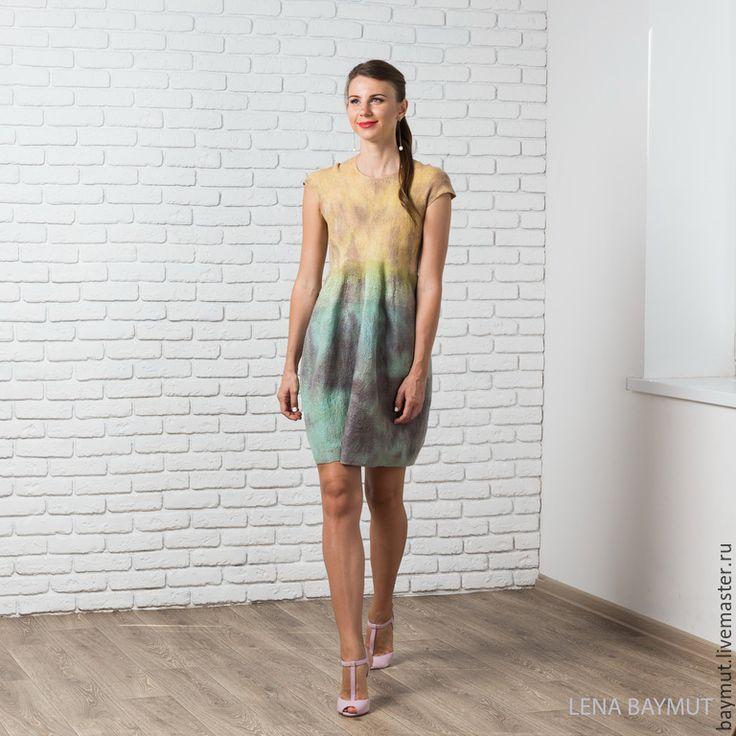 """Купить Валяное платье-баллон """"Rust"""" - разноцветный, валяное платье, войлочное платье, одежда из шерсти"""