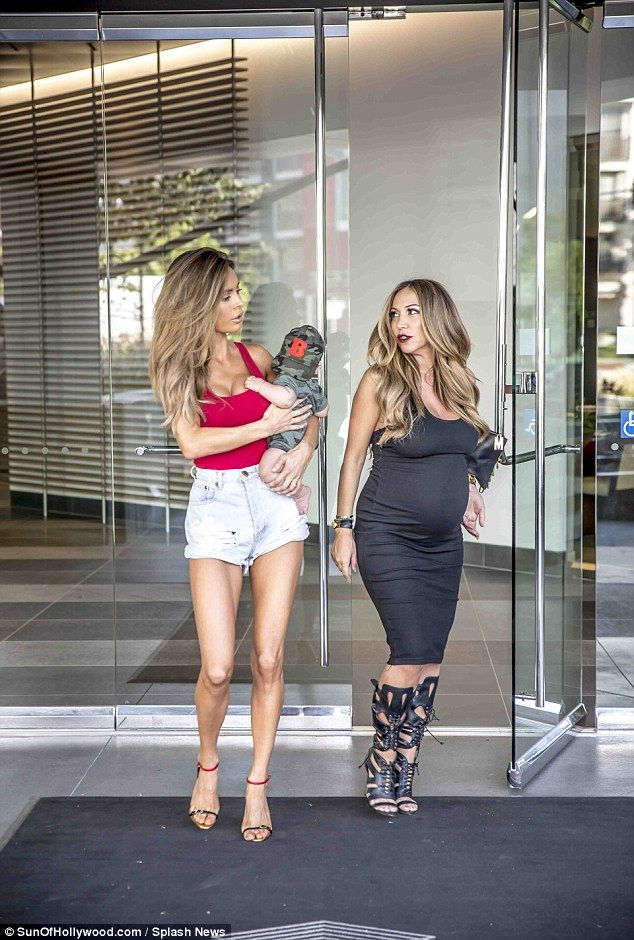 Lingerie model Sarah Stage steps out with her five-month-old son