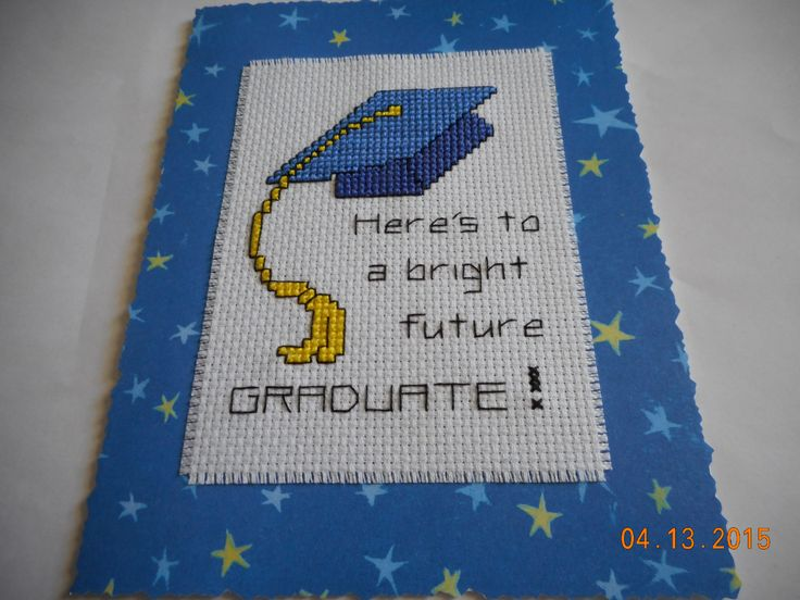 cross stitch graduation card available in my etsy shop DebbyWebbysCards
