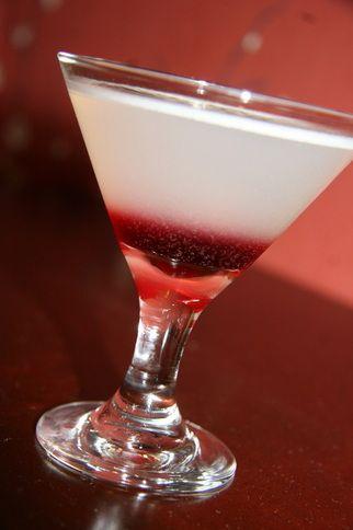 Sexy Sadie    2 oz. Grey Goose La Poire Vodka  1 oz. St. Germain Elderflower Liqueur  1 oz. pear nectar  Up to 1 oz. blackcurrant liqueur
