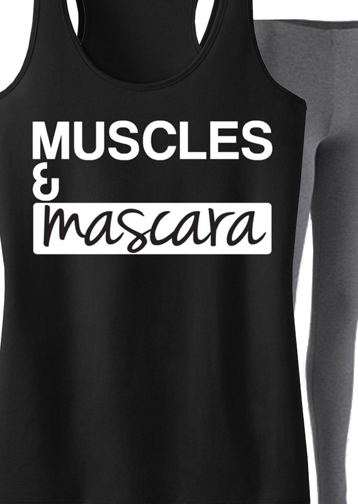 Look cute and fashionable at the #Gym with this #Workout Clothing! Featuring a MUSCLES MASCARA Tank. By NoBullWomanApparel, $24.99. Click here to buy http://nobullwoman-apparel.com/products/muscles-mascara