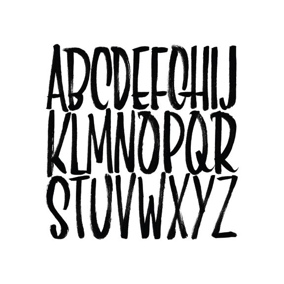 This alphabet was hand-lettered with a Pentel brush pen. The creator is unknown, but the lettering is very prominent on the page. I love how thin each one is. It's squished, yet doesn't look messy.