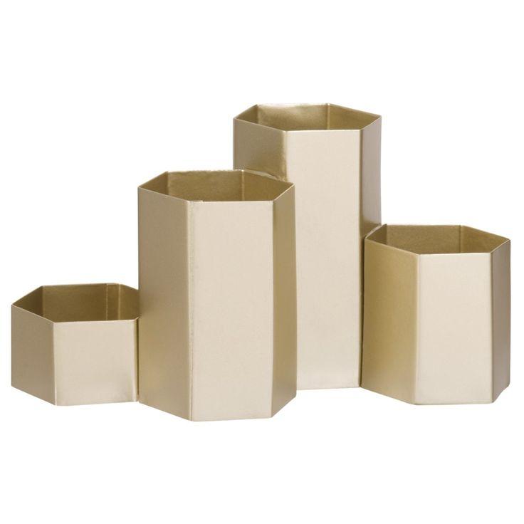 Schreibtischablage mit 4 Fächern aus goldfarbenem Metall | Maisons du Monde