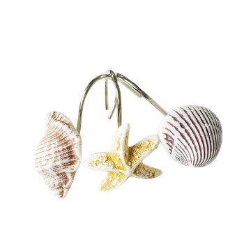 12/bolsa de shell forma anillos de cortina de ducha gancho de la cortina de baño Europeo moda hogar clásico diseño óxido impermeable S1642