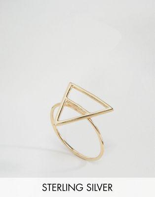 Кольцо из позолоченного серебра с контурным треугольником ASOS