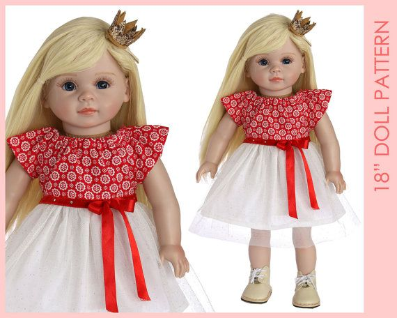 DRESS girl doll clothes pattern pdf 18 inch doll clothes
